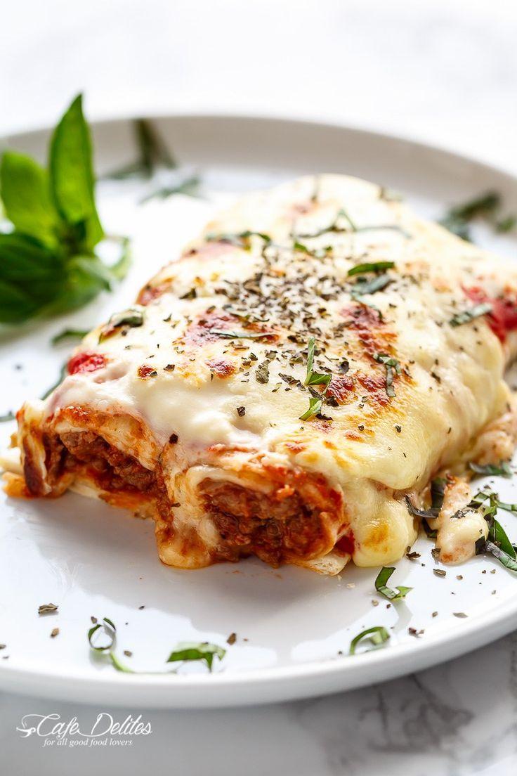 Easy Lasagna Stuffed Burritos | http://cafedelites.com