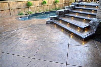 seamless stamped concrete | Stamped concrete patio features realistic textured stamp application ...