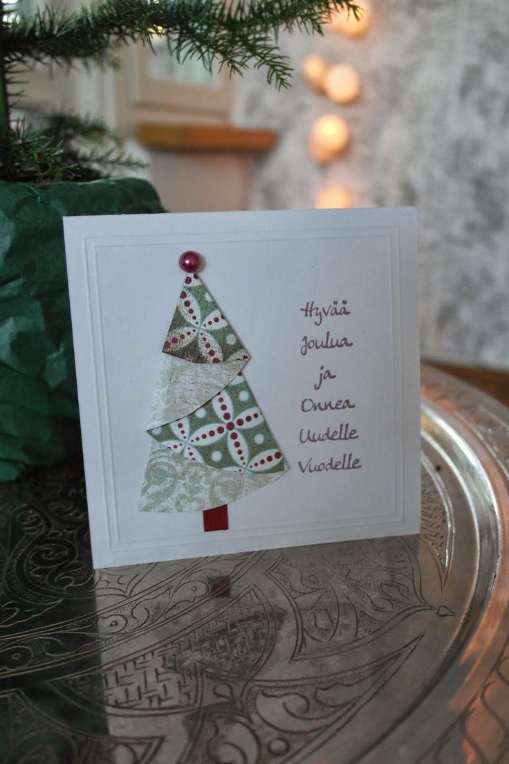 Joulukortti kakkupaperista Christmas tree card