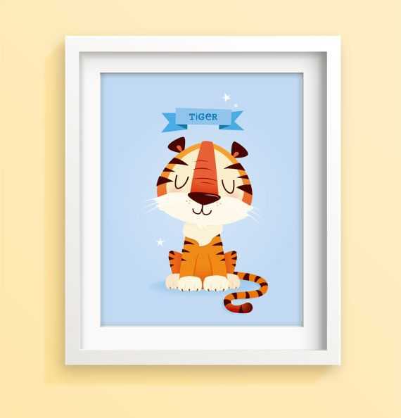 Nursery wall decor tiger nursery art blue by IreneGoughPrints