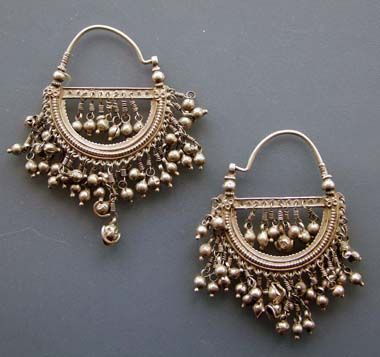 India | A pair of old silver earrings ~ Bali ~ from Himachal Pradesh | Ganguly-Ornamental Identity and Beauty in India, page 107