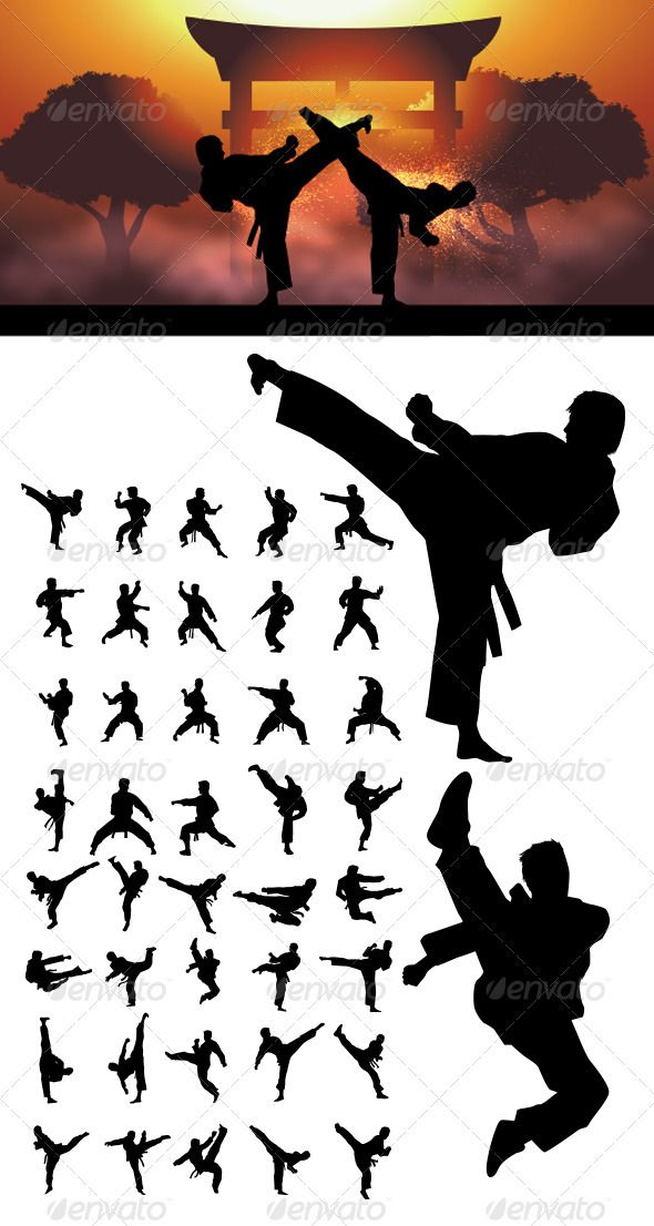 Taekwondo and Karate Silhouettes #GraphicRiver Nice and High Detail vector. In this files include AI and EPS versions. You can open it with Adobe Illustrator CS and other vector supporting applications. I hope you like my design, thanks visit my silhouettes collection graphicriver /collections/3119286-silhouettes Created: 4January13 GraphicsFilesIncluded: VectorEPS #AIIllustrator Layered: No MinimumAdobeCSVersion: CS Tags: TaeKwonDo #action #background #clip #effect #fight #fist #japan…