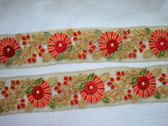 Indian Vintage Style Floral Pattern Trimming Dupion Silk Lace Haberdashery 1.5/""