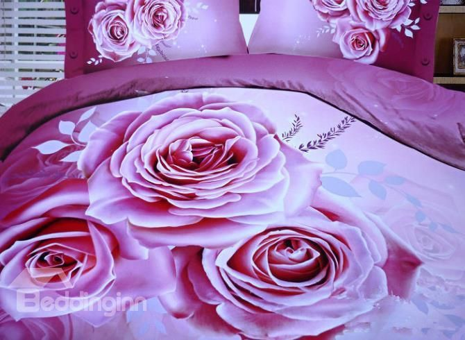 high quality lovely pink roses print 4 piece polyester bedding setsduvet cover sets