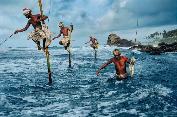 Photography Heroes. Steve McCurry (b) 1950. Fishermen, Weligama, South coast, Sri Lanka, 1995.