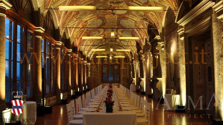 ALMA PROJECT @ Villa Corsini - Galleria Pandolfo - uplights battery led - light amber 124