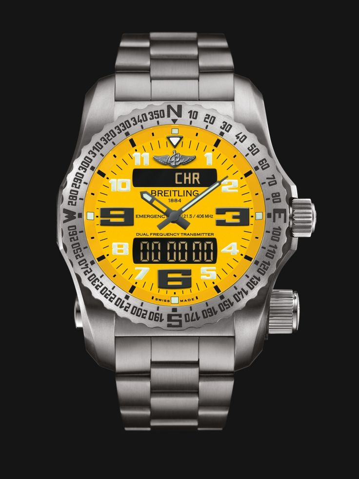 Emergency watch by Breitling - built in dual-frequency Personal Location Beacon, stainless steel case and bracelet with bright high-contrast yellow dial