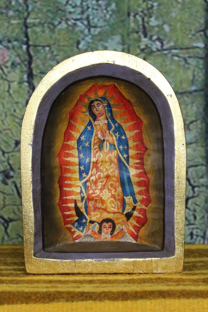 Hand painted retablo mexican folk art niche virgin of for Our lady of guadalupe arts and crafts