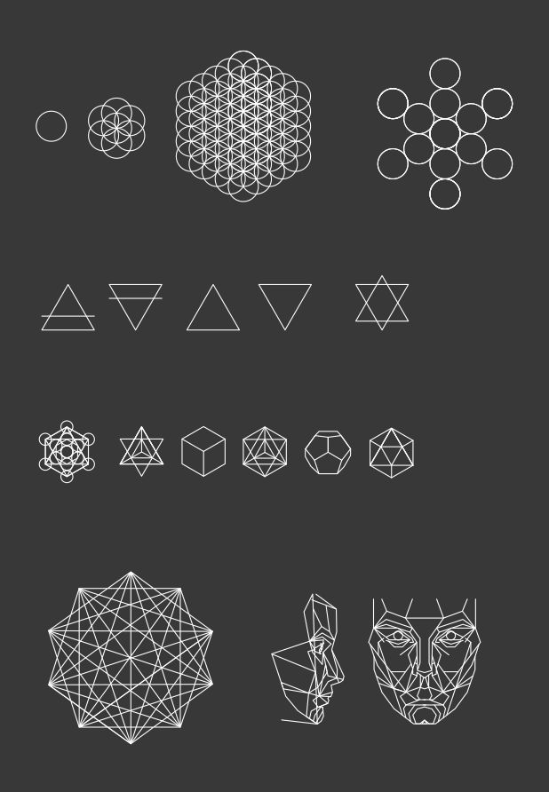 Megin Hayden ©  Sacred Geometry  circle of life, seeds of life, flower of life, fruit of life,   Elements: air, earth, fire, water, unity,  platonic solids: metatron's cube, star tetrahedron, hexahedron, octahedron, dodecahedron, icosahedron.   golden ratio.
