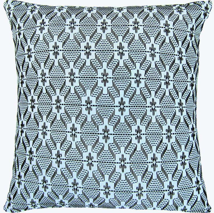 "Swedish Weave Pillow ""Crown Jewel"" Black."