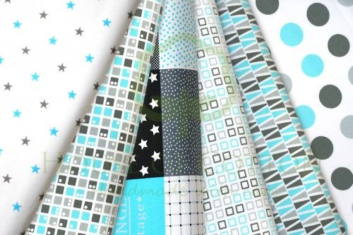 Gray & aqua marine patchwork cotton fabric set / Zestaw patchworkowy turkusowy