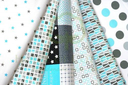 Gray & aqua marine patchwork cotton fabric set / Zestaw patchworkowy turkusowy