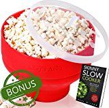 Silicone Microwave Popcorn Popper / Popcorn Maker Red Collapsible Popcorn Bowl with lid for home  BPA free  for Healthy Homemade Butter & Oil-Free Recipes  by Chefs Area