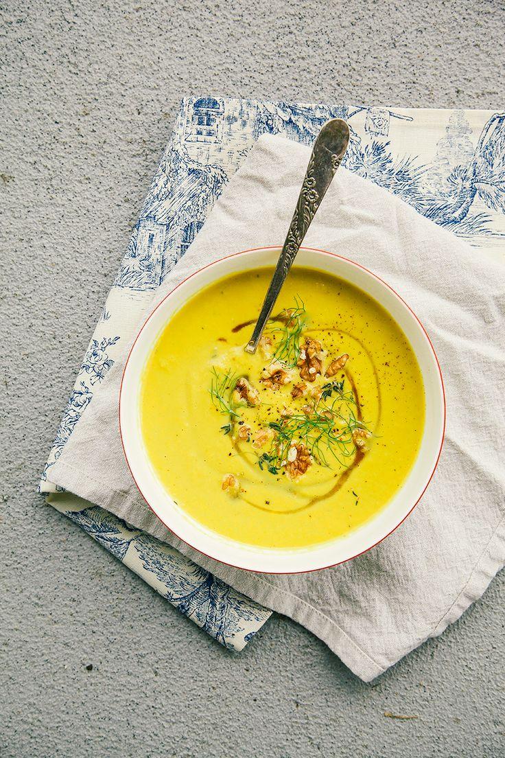 leek, fennel, apple + walnut soup with turmeric