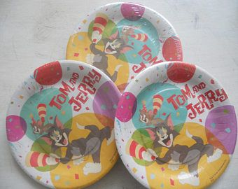 10 Party Large Plates 23cm ''Tom and Jerry Cake''-birthday/table decor/themed party/cat/mouse/made in Italy.