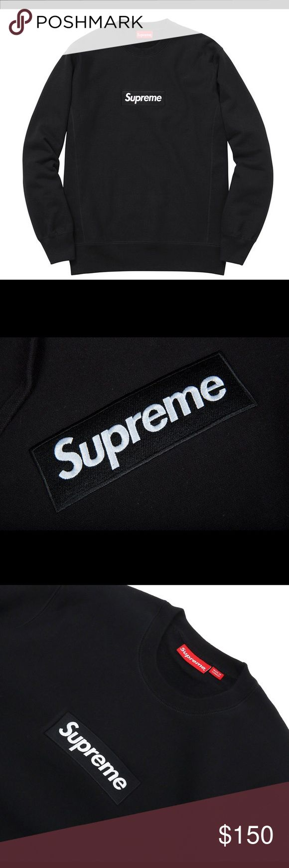 Black Supreme Box Logo Crewneck Size Medium. Perfect for upcoming winter. Supreme Sweaters Crewneck