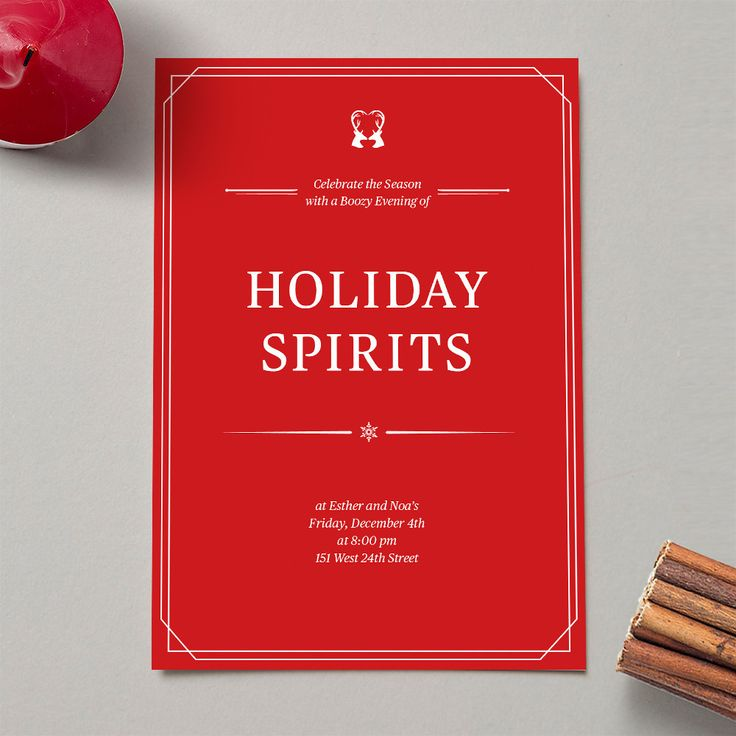 Holiday Invitation is a flat invitation card with print on one side. Perfect for cocktails and parties or just as a Holiday greeting. Choose a style and enter your text!