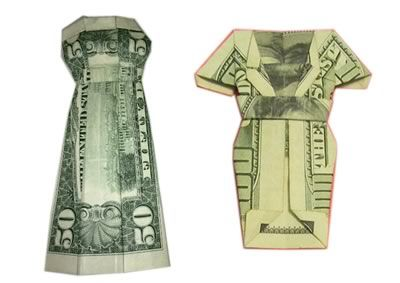 Free step by step instructions for how to fold a money origami dress out of a dollar bill or other bill. It's quick and easy to learn and makes a great way to give a cash gift or leave a memorable tip