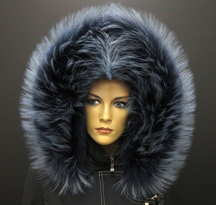 Luxusní kožešina na kapuci s maximálním objemem v modré barvě #real#fur#kozesina#kapuci#modra#blue