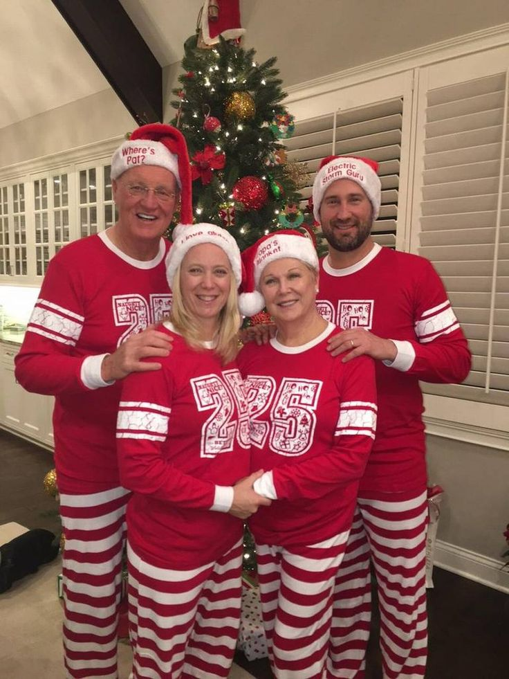 For Christmas, Brian Schottenheimer's wife bought the family matching pajamas with personalized hats. From left are former Chiefs coach Marty Schottenheimer, Brian's wife Gemmi, Marty's wife Pat and their son Brian.