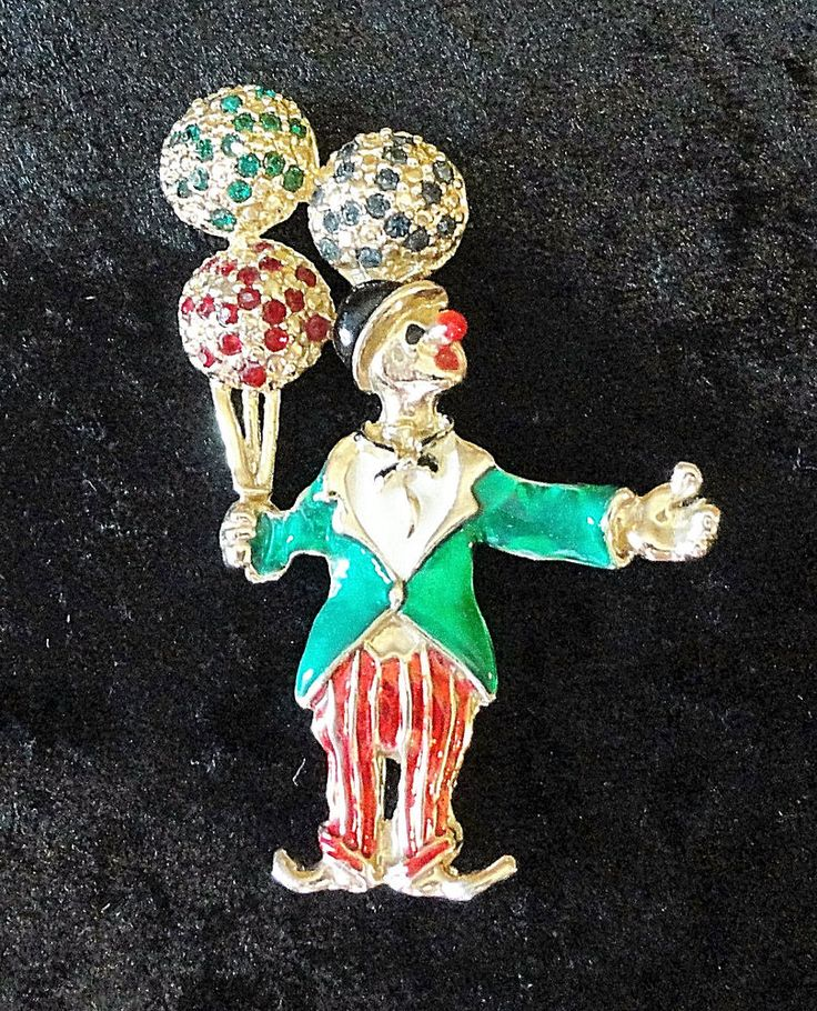 The enamel colors on his clown suit are a green jacket, white undershirt, red and gold pants. The clown is wearing gold-tone shoes wi th ab la ck enamel hat. It fea tures acut eclown we ar ing a colorful outfit. | eBay!