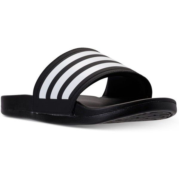 adidas Women's adilette Cloudfoam Plus Slide Sandals from Finish Line ($35) ❤ liked on Polyvore featuring shoes, sandals, flexible shoes, adidas shoes, adidas footwear, adidas and adidas sandals