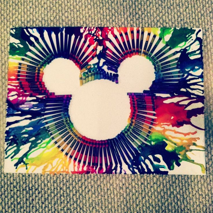 Diy disney home decor melted crayon mickey mouse wall art for Art and craft for decoration