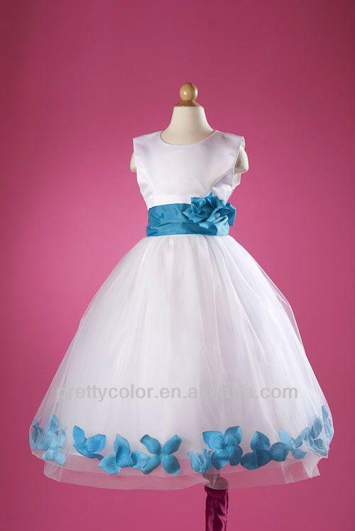 Vestido blanco con azul turquesa para ninas – Vestidos de noche ...