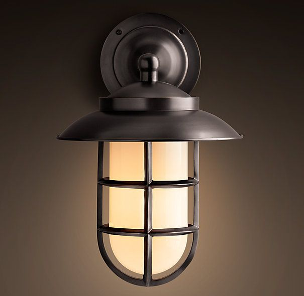 G: Restoration Hardware Starboard Milk Glass Sconce With Shade Bronze ·  Outdoor SconcesOutdoor LightingLighting ...