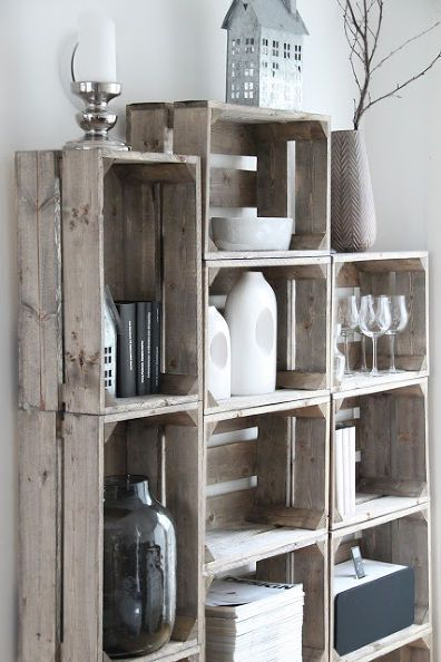 Crates for shelves, a lovely modern inspiration for your home decoration. Could be used in a living room, for instance.