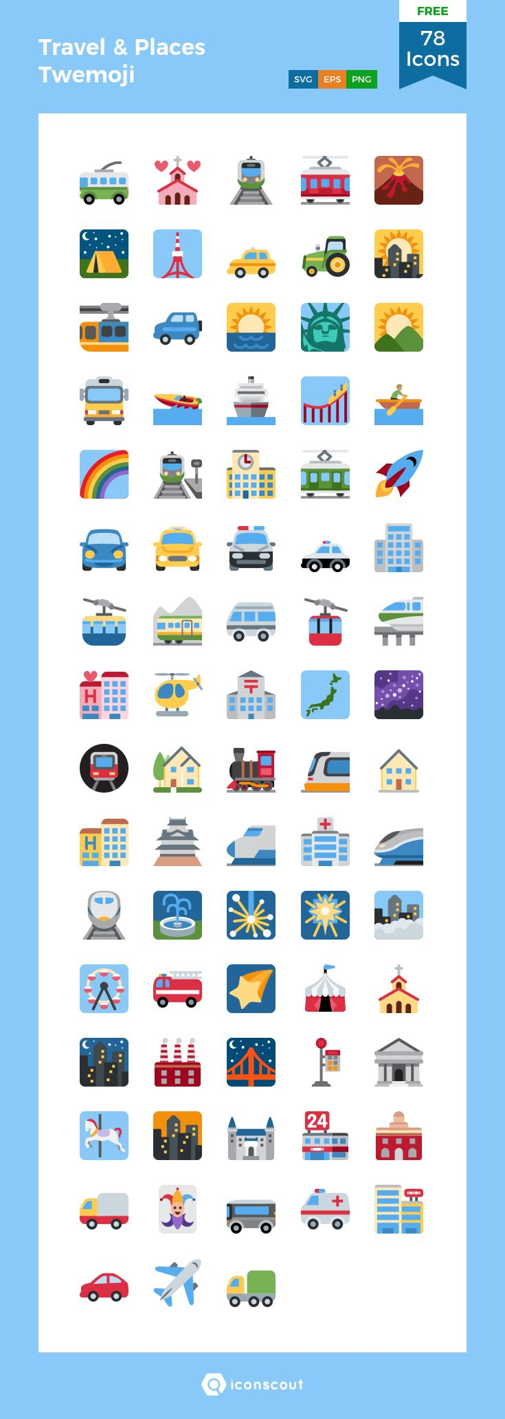 Travel & Places Twemoji Free  Icon Pack - 78 Flat Icons