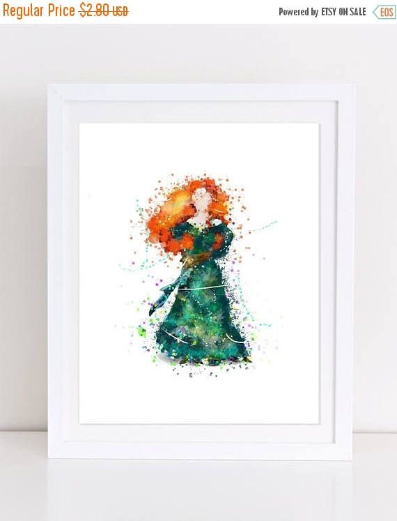 70%OFF Princess Merida Poster Brave Watercolor Poster Disney
