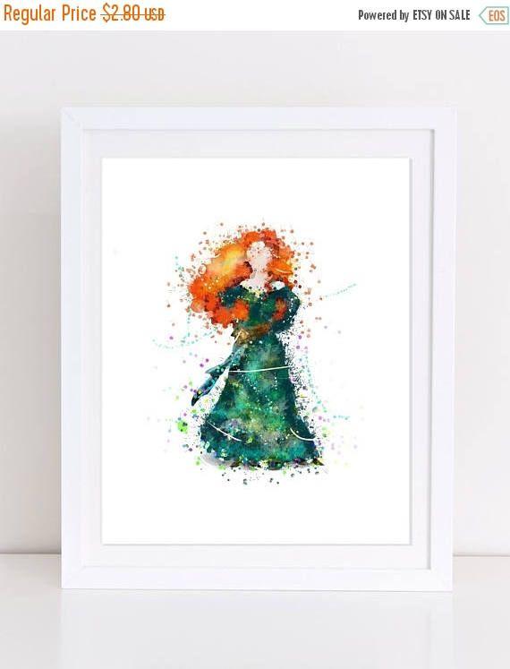 70%OFF Princess Merida Poster Brave Watercolor Poster Disney