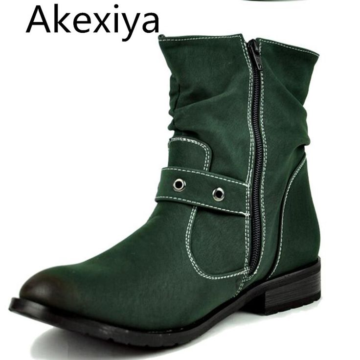 Akexiya Free Shipping Autumn Winter Genuine Leather Men's Fashion Boots Martin Boots British Style Zip Cowboy Boots For Men