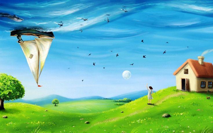 Wallpapers Surrealism Art Girl Boat Fish Dolphin Sky Sea Hi   1920x1200