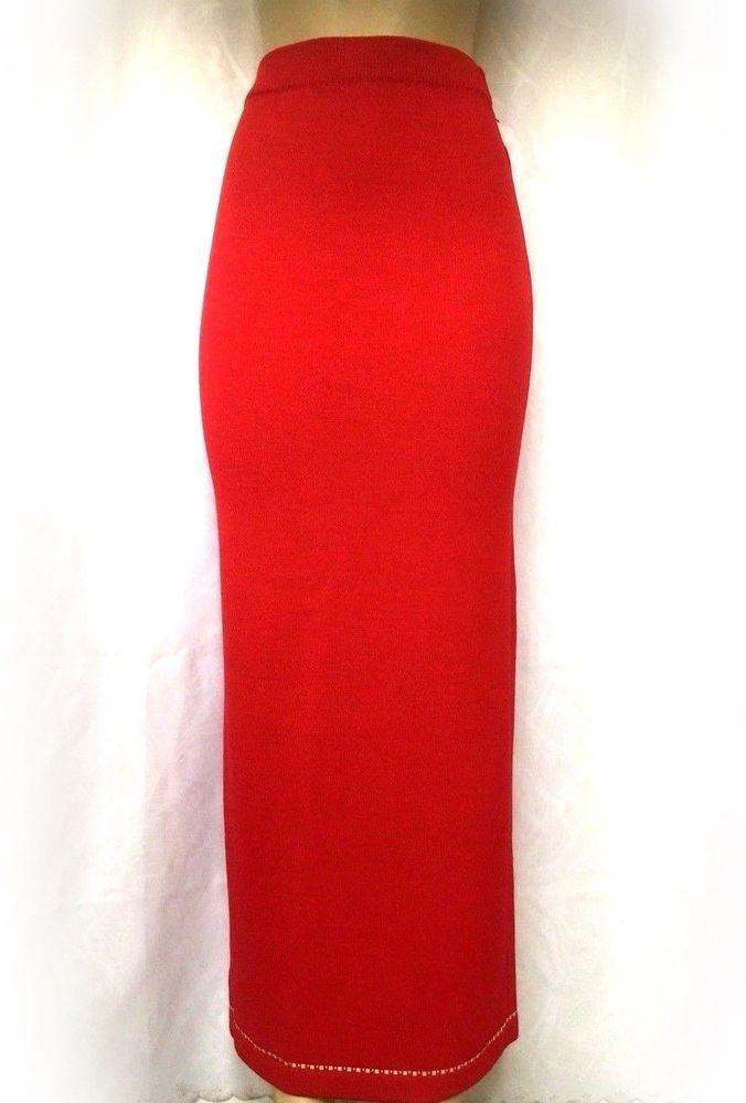 b3a360d6b St John Evening Santana Knit Maxi Skirt Straight Red Paillette 2 XS Full  Length #StJohn #Maxi