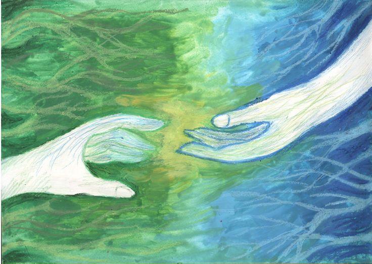 when we meet - by Caranfinwen #green #blue #hands #love