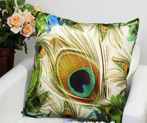 "18"" High Quality Velvet Colorful Peacocks Feathers Cushion Case, Decorative Pillow Case, Showroom Photography Pillow Case"