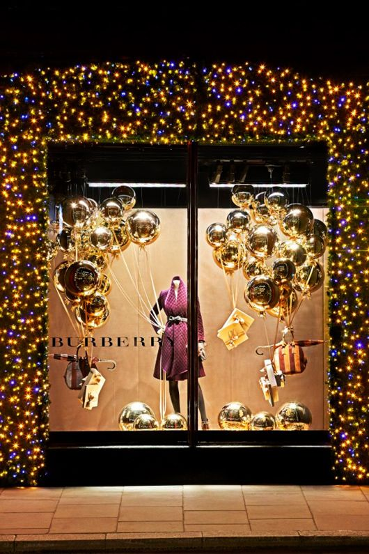 Burberry Christmas 2012. I love the twinkle lights bordering the window. So…