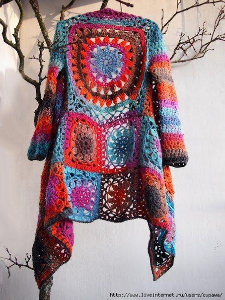 Granny Squares Jacket Crochet Pattern Tutorial DIY
