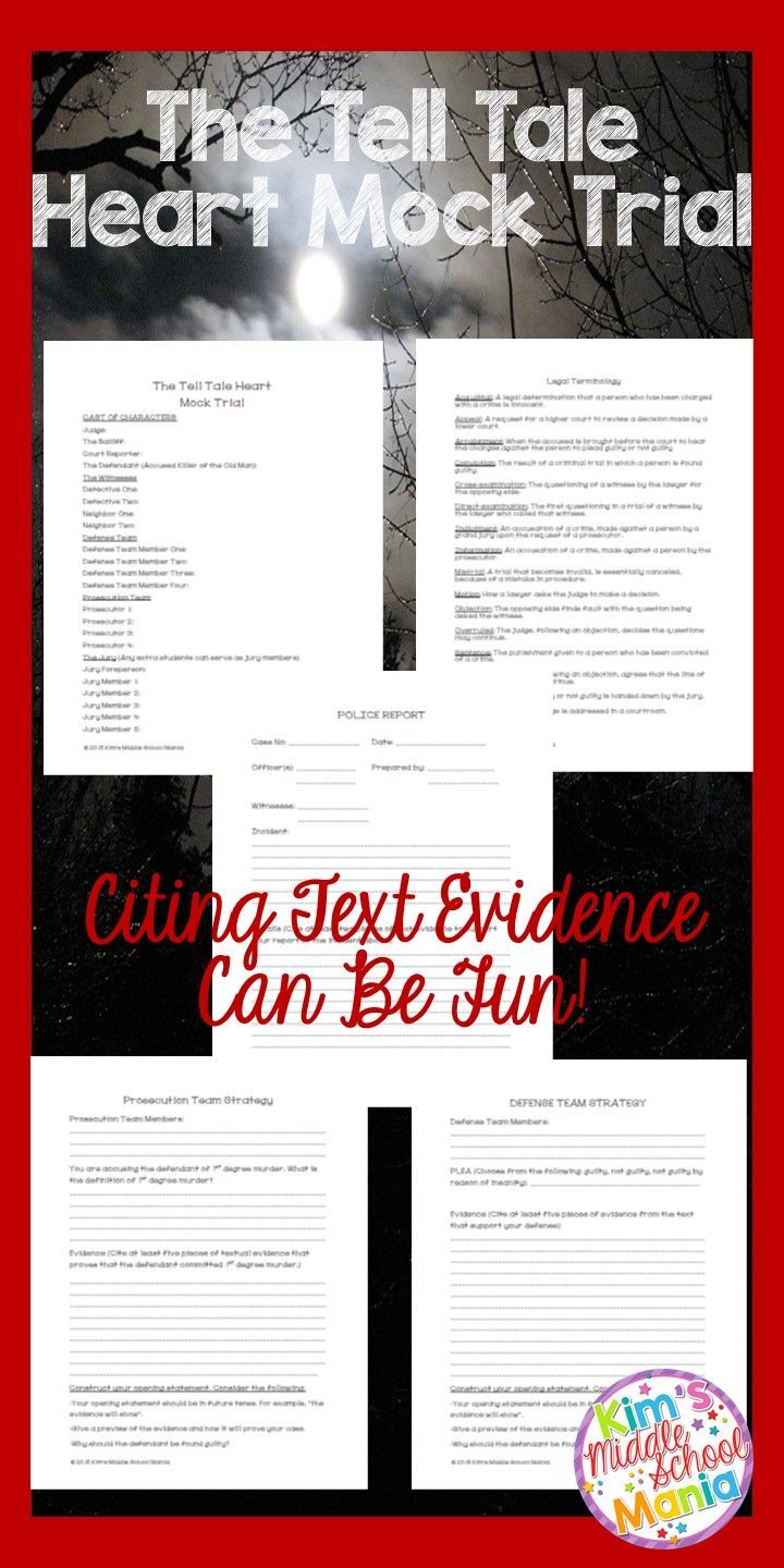 """This is a great activity for HALLOWEEN or for the month of OCTOBER! Students use text evidence for the the short story """"The Tell Tale Heart"""" by Edgar Allan Poe to determine whether the killer is guilty of first degree murder or not guilty by reason of insanity!"""