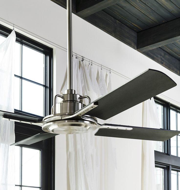 Peregrine Ceiling Fan Brushed Nickel Matte Black | Rejuvenation