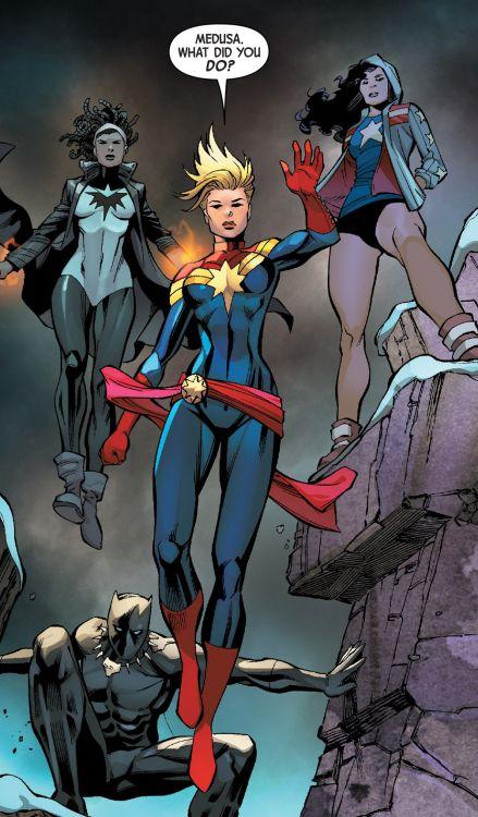 • Captain Marvel in Uncanny Inhumans #12 (2016) pencil by Carlos Pacheco
