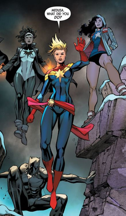 • Captain Marvel in Uncanny Inhumans #12 (2016) pencil by Carlos Pacheco