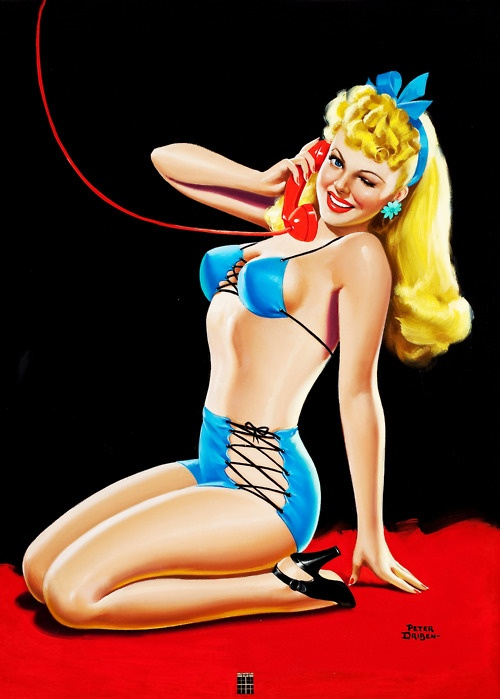 Pin-Up in Blue Bikini by Peter Driben for Eyeful magazine cover, January 1945: Peter Driben, Peter O'Toole, Pinups, Vintage Pin, Pin Up Art, Pinup Girls, Pin Ups, Pin Up Girls, Telephone Pinup