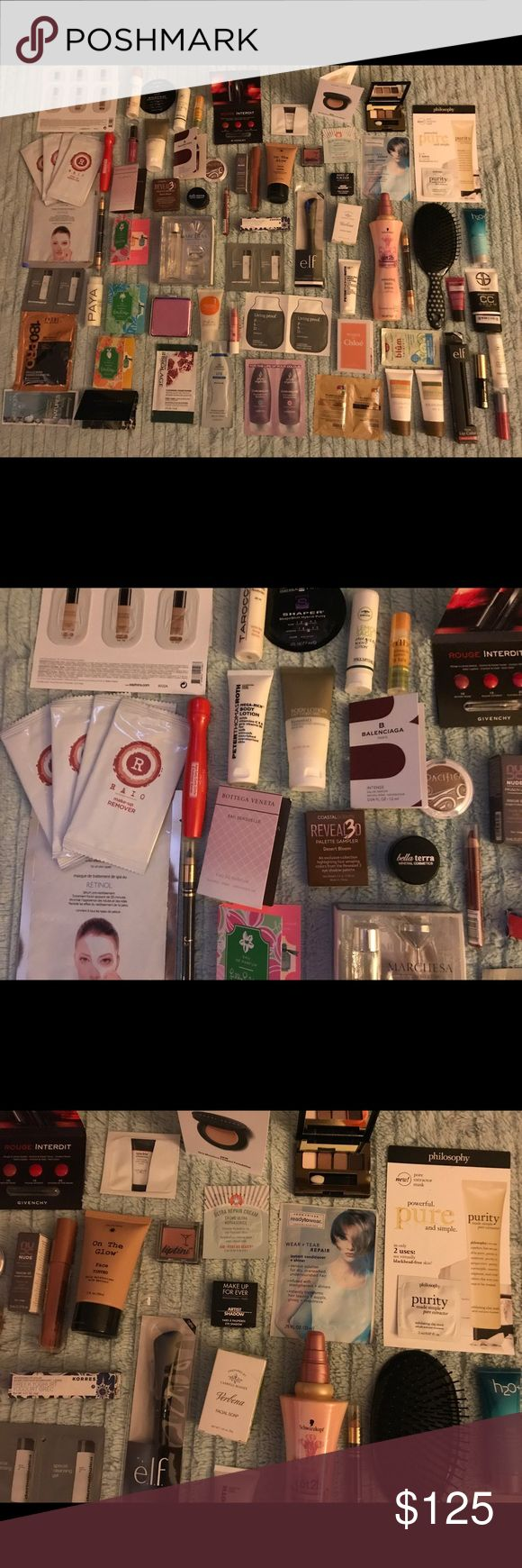Huge high end Sephora beauty sample lot 93 pc 🌹 Mix of deluxe and packet samples-all great brands. Some are: peter Thomas Roth, algenist, IT cosmetics, Chanel, Josie Maran, living proof, l'occitaine, clarins, Clinique, Bobbie Brown, Korres, Urban Decay, Givency, Pureology, hourglass, Nars, Lilly Pulitzer, BalenciagaPacifa, Keihls, bottega Veneta, strivectin, dermatologica, Estée Lauder and MORE!!! Comes with everything seen here. Great lot to play with! ALL NEW and unopened. Sephora Makeup