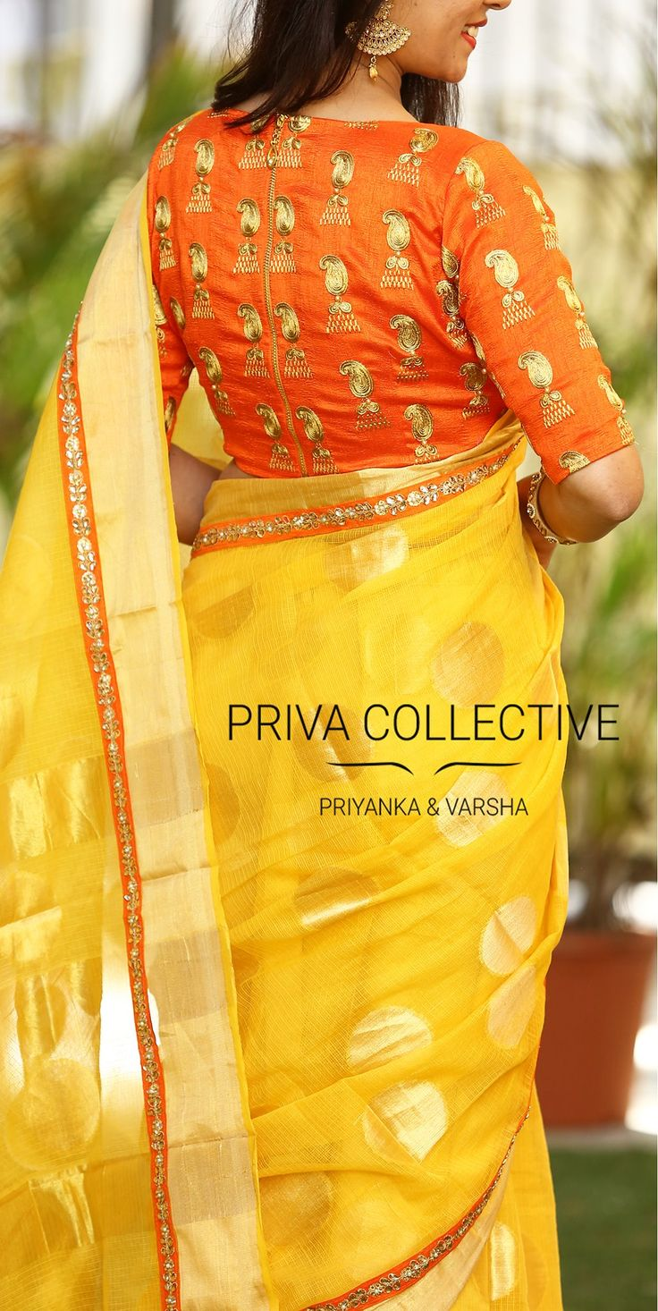 PV 3553 : Orange and YellowPrice : Rs 4550  Look your traditional best in this lovely number. Yellow self patterned cotton kota sari finished with a tinge of orange borderUnstitched blouse piece - Orange embroidered raw silk blouse piece as shown in the pictureFor Order 08 November 2017