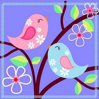 .pink and blue birds