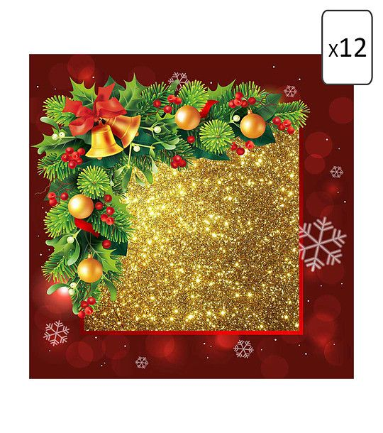 FashionSupreme - Set de 12 buc șervețele cu imprimeu de Crăciun - Pentru casă - Seturi - Sofi - în întâmpinarea Crăciunului. Haine şi accesorii de marcă. Haine de designer.