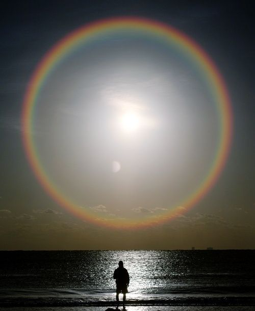 Moon with rainbow halo.